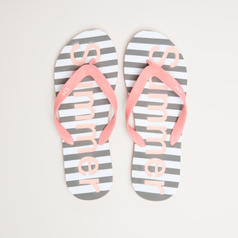 Striped Flip Flops with Textured Straps