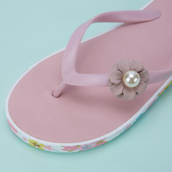 Missy Printed Thong Slippers with Applique Detail