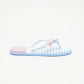 Striped Flip Flops with Floral Applique