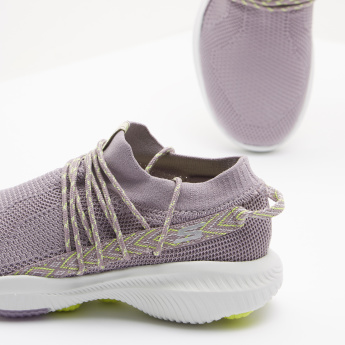 Skechers Textured Walking Shoes with Lace-Up Closure
