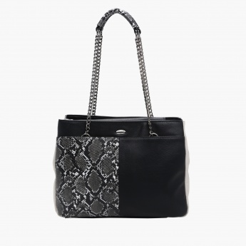 Elle Printed Handbag with Zip Closure