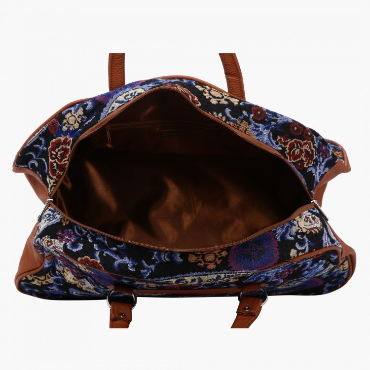 Paprika Printed Duffle Bag with Zip Closure