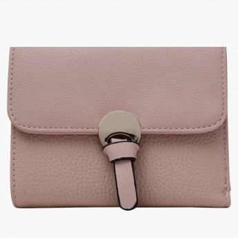 Paprika Textured Wallet with Flap Closure