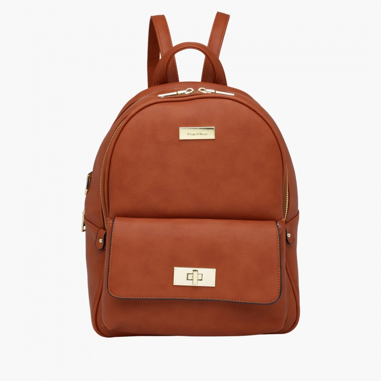 Paprika Textured Backpack with Zip Closure