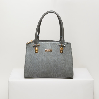 Paprika Textured Handbag with Zip Closure and Long Strap