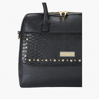 Marla London Embellished Hand Bag with Zip Closure and Flap