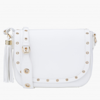 Paprika Eyelet Detail Sling Bag with Flap