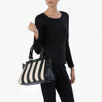 Paprika Striped Handbag with Zip Closure