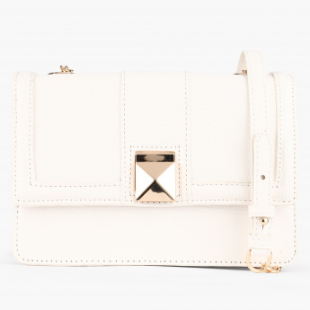 Elle Crossbody Bag with Flap and Metallic Strap Detail