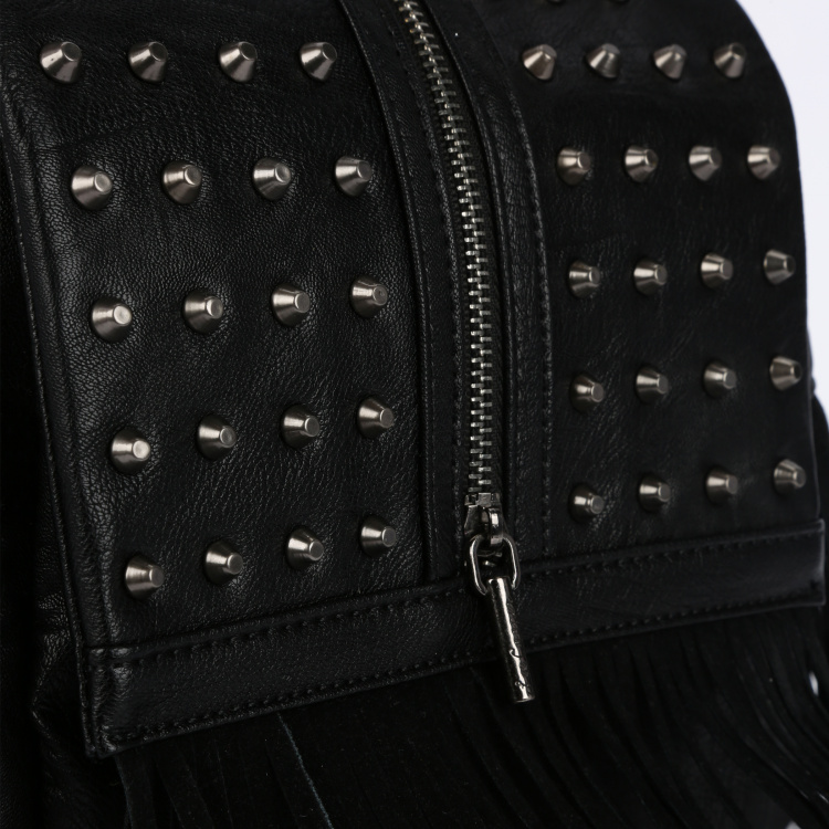 Lee Cooper Studded Bowler Bag with Zip Closure and Flap