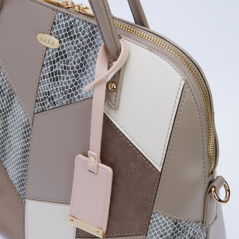 Elle Patchwork Detail Handbag with Zip Closure