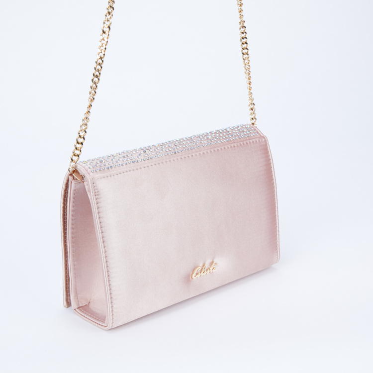Celeste Embellished Sling Bag with Flap and Twist Lock Closure