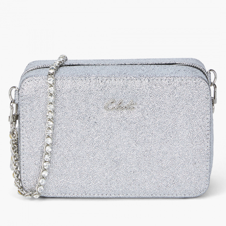 Celeste Textured Sling Bag with Zip Closure