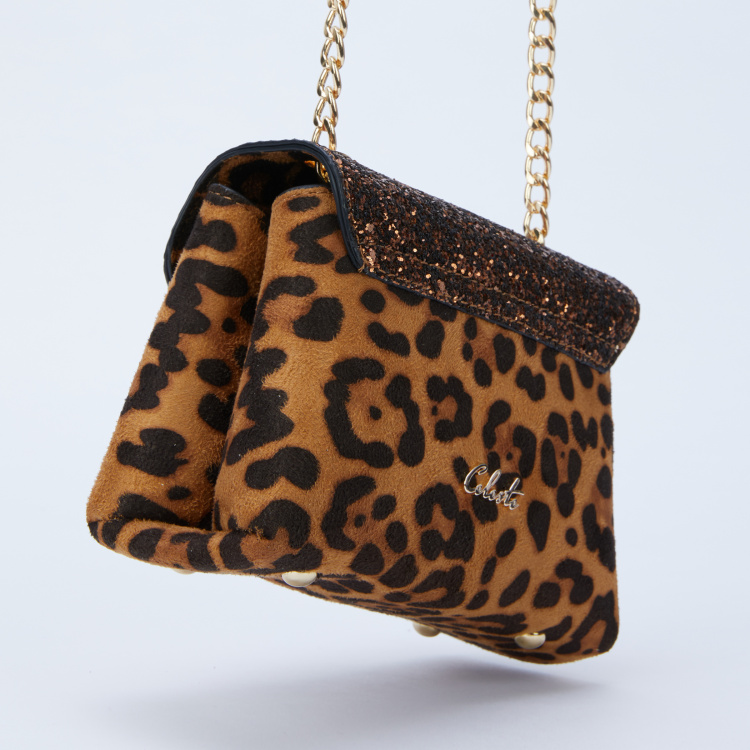 Celeste Printed Sling Bag with Flap and Magnetic Snap Closure