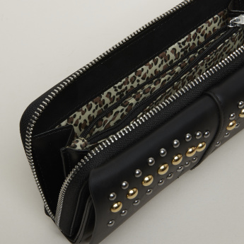 Studded Wallet with Zip Closure and Tassel