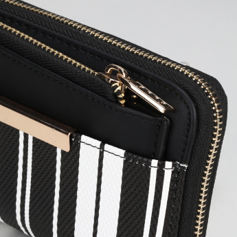 Elle Striped Wallet with Zip Closure