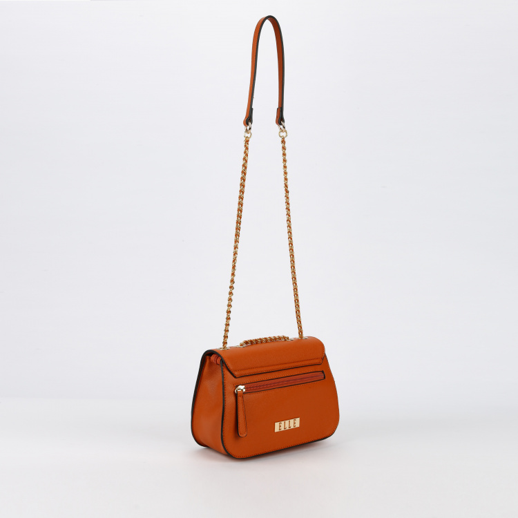 Elle Metallic Detail Sling Bag with Flap and Zip Closure