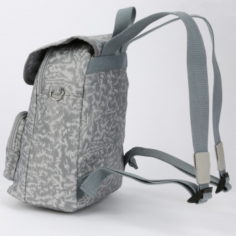 Missy Printed Backpack with Flap and Pom Pom Detail