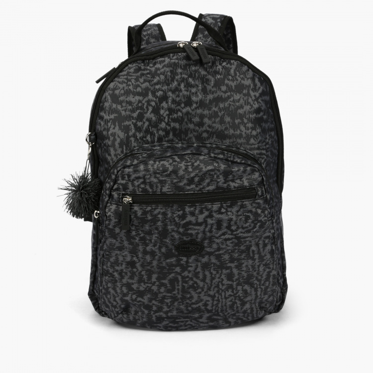 Missy Printed Backpack with Pom Pom Detail