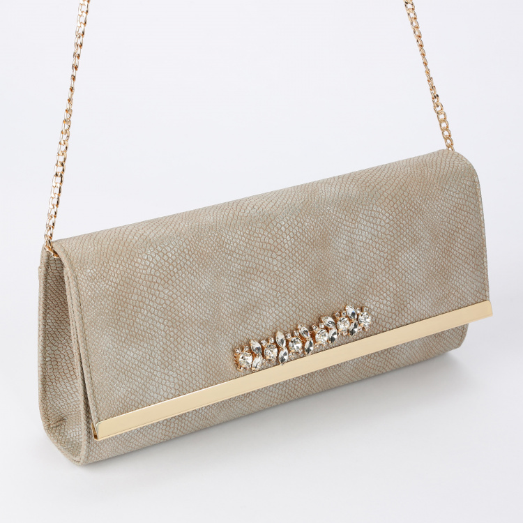Celeste Embellished Sling Bag with Flap and Magnetic Snap Closure