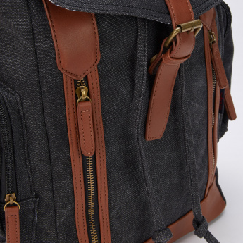 Lee Cooper Textured Backpack with Flap and Buckle Closure