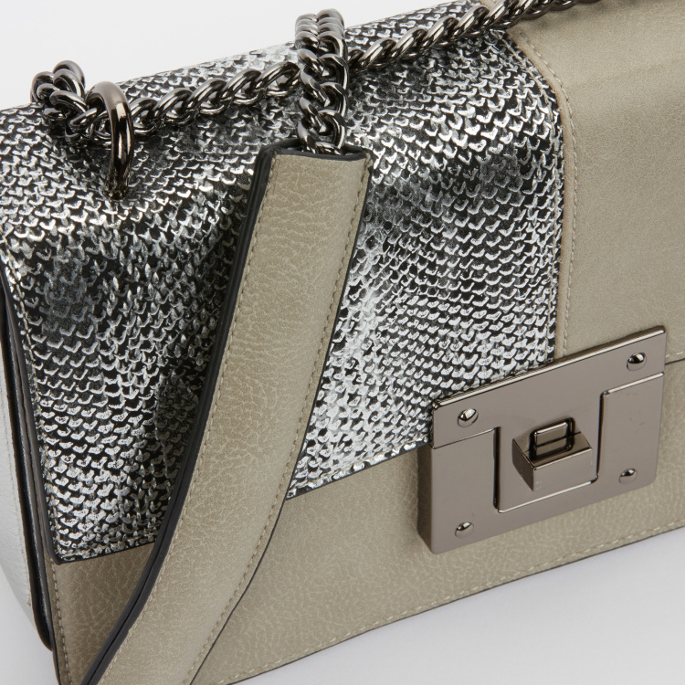 Elle Textured Satchel Bag with Metalic Chain Strap