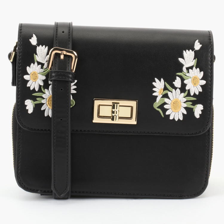 Paprika Embroidered Crossbody Bag with Twist Lock