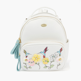 Missy Printed Backpack with Zip Closure and Flower Detail