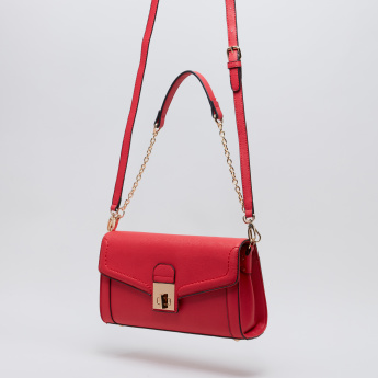 Paprika Textured Satchel Bag with Twist Lock and Long Adjustable Strap