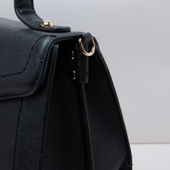 Paprika Stitch Detail Satchel Bag with Twist Lock and Adjustable Strap