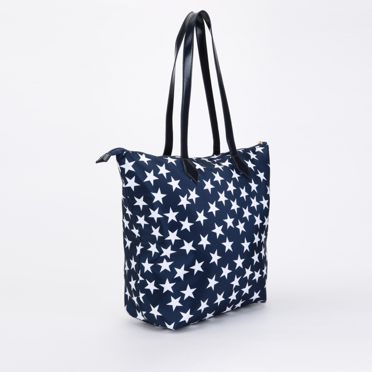 Paprika Printed Tote Bag with Zip Closure