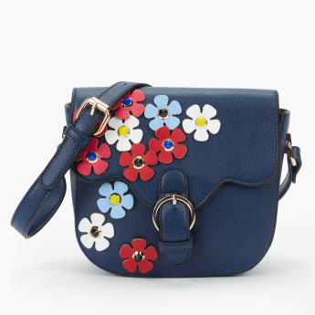 Missy Applique Detail Satchel Bag with Magnetic Snap Closure