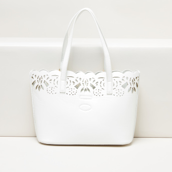 Little Missy Cutwork Handbag with Magnetic Snap Closure