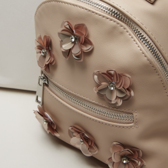 Elle Backpack with Zip Closure and Flower Detail