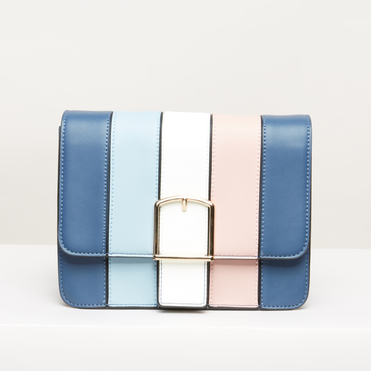 Paprika Striped Satchel Bag with Magnetic Snap Closure