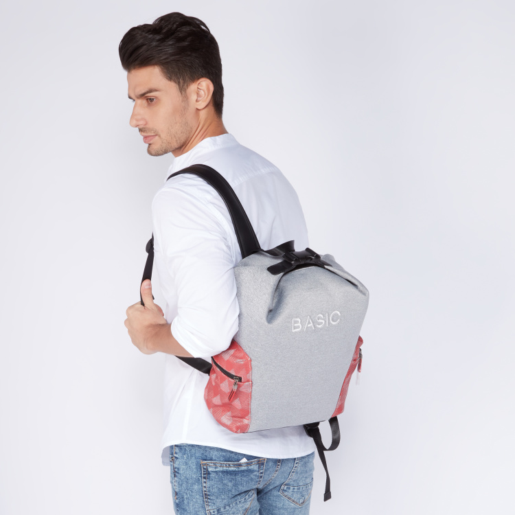Lee Cooper Embroidered Backpack with Adjustable Straps and Zip Closure