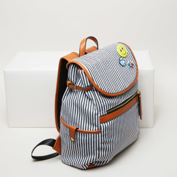 Missy Striped Backpack with Flap and Adjustable Straps