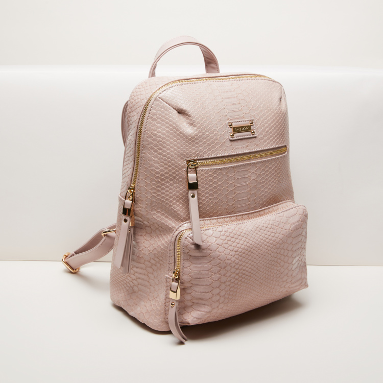 Paprika Textured Backpack with Zip Closure and Adjustable Straps