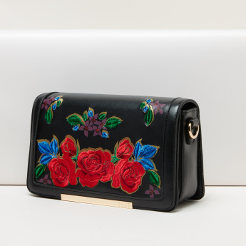 Elle Embroidered Crossbody Bag with Magnetic Snap Closure