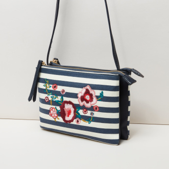 Missy Embroidered Crossbody Bag with Zip Closure and Adjustable Strap