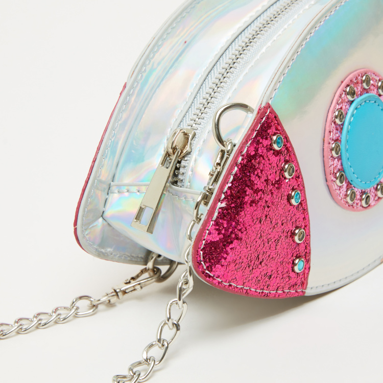 Little Missy Embellished Crossbody Bag with Zip Closure