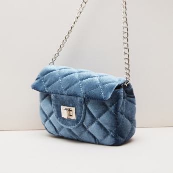 Little Missy Quilted Crossbody Bag with Metallic Chain