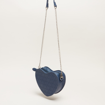 Little Missy Textured Crossbody Bag with Zip Closure