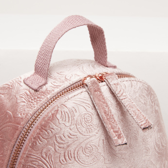 Embossed Backpack with Zip Closure