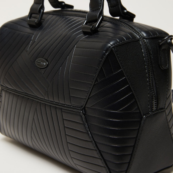Missy Textured Bowler Bag with Zip Closure and Adjustable Strap
