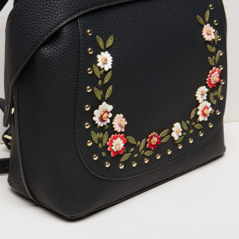 Missy Applique Detail Backpack with Magnetic Snap Closure