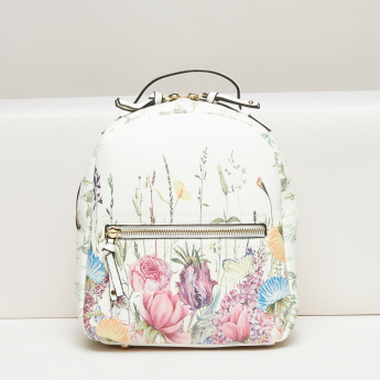 Missy Printed Backpack with Zip Closure and Adjustable Straps