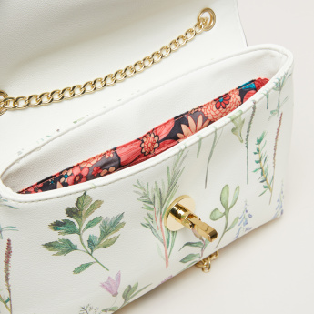 Missy Printed Satchel Bag with Metallic Chain