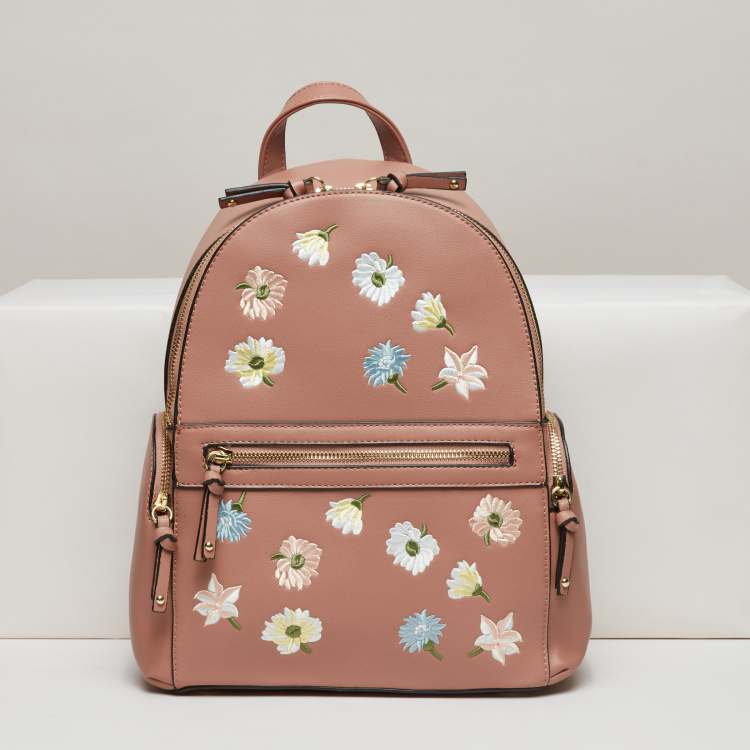 Missy Embroidered Backpack with Zip Closure