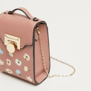 Missy Embroidered Satchel Bag with Metallic Chain